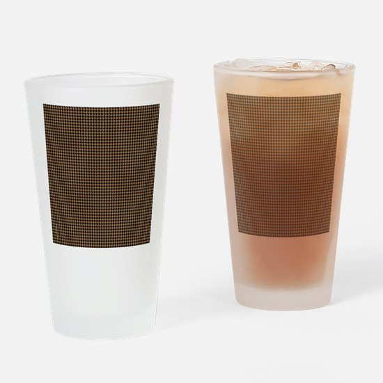 Houndstooth   Khaki Drinking Glass