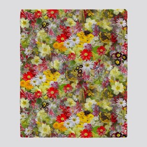 Red and Yellow Spring Flowers Throw Blanket
