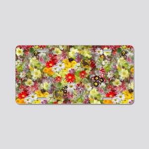 Red and Yellow Spring Flowe Aluminum License Plate