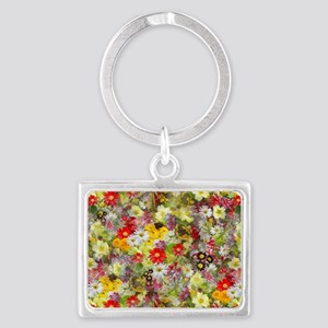 Red and Yellow Spring Flowers Landscape Keychain