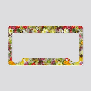 Red and Yellow Spring Flowers License Plate Holder