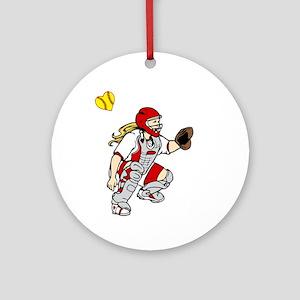 red2, I love my catcher Round Ornament