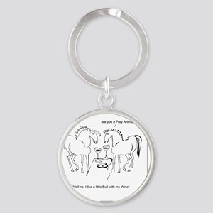 WhinnynWine Horse Cartoon- Lusitano Round Keychain