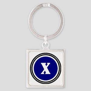 Blue X Square Keychain