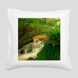 Stream in the forest Square Canvas Pillow