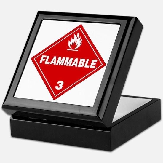 Red Flammable Warning Sign Keepsake Box