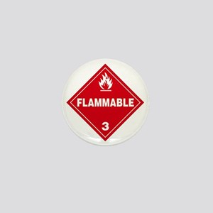 Red Flammable Warning Sign Mini Button