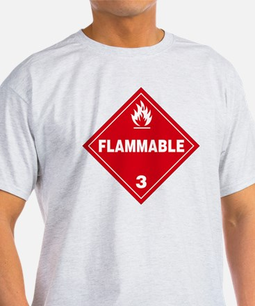 Red Flammable Warning Sign T-Shirt