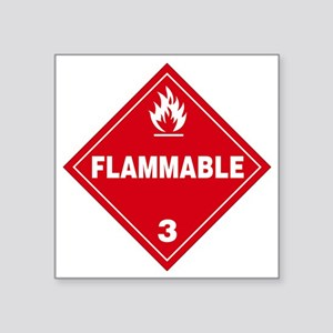 """Red Flammable Warning Sign Square Sticker 3"""" x 3"""""""