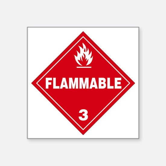 "Red Flammable Warning Sign Square Sticker 3"" x 3"""