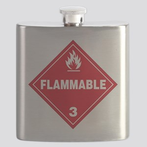Red Flammable Warning Sign Flask