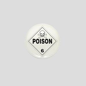 Poison Skull and Bones Warning Sign Mini Button
