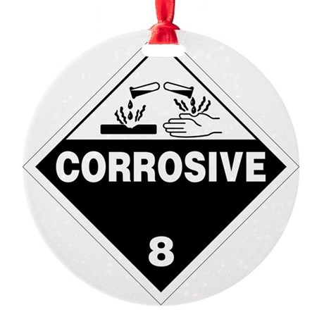 Corrosive Danger Warning Sign Round Ornament