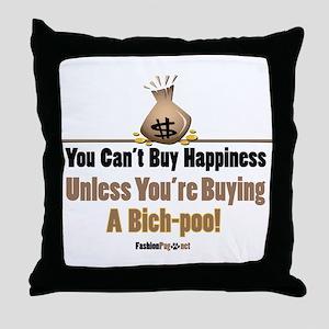 Bich-poo dog Throw Pillow