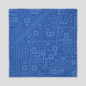 Blue Circuit Board Queen Duvet