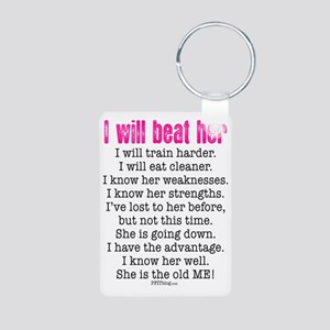 I Will Beat Her Aluminum Photo Keychain