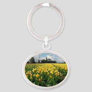 Dutch Windmill and Yellow Tulips Fie Oval Keychain