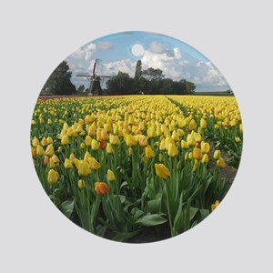 Dutch Windmill and Yellow Tulips Fi Round Ornament