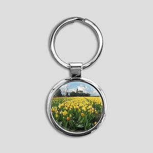 Dutch Windmill and Yellow Tulips Fi Round Keychain