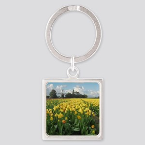 Dutch Windmill and Yellow Tulips F Square Keychain