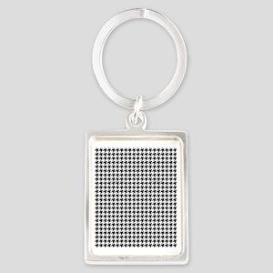 Houndstooth  White Portrait Keychain