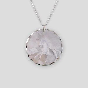 Flying Unicorn Necklace Circle Charm