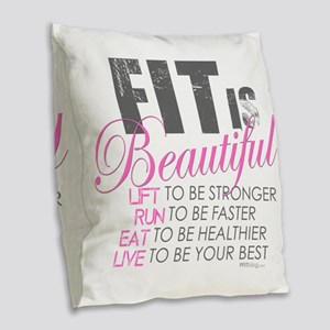 Fit is Beautiful Burlap Throw Pillow