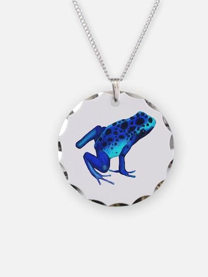 Blue Dart Frog Necklace