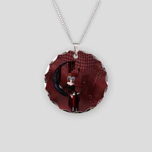 Joker Necklace Circle Charm