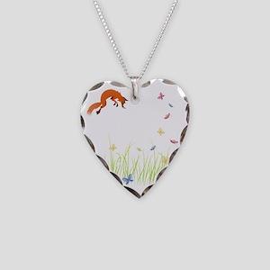 Fox Necklace Heart Charm