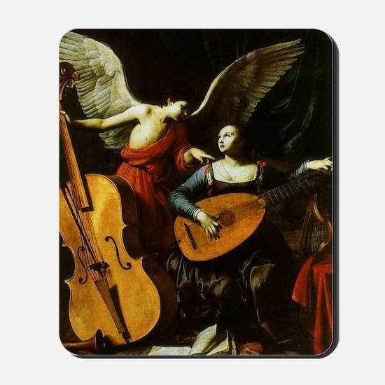 Saint Cecilia and the Angel by Saraceni Mousepad