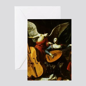 Saint Cecilia and the Angel by Sarac Greeting Card