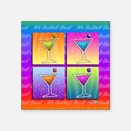 "MARTINIS Pop Art Square Sticker 3"" x 3"""