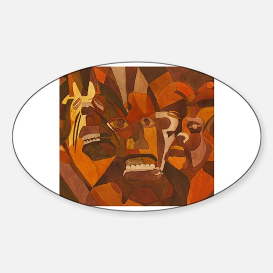 Funny African art and masks Sticker (Oval)
