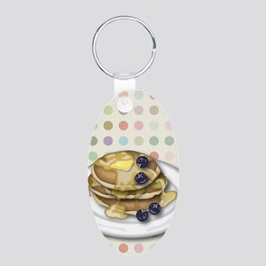 Pancakes With Syrup And Blu Aluminum Oval Keychain