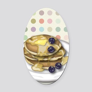 Pancakes With Syrup And Blueberrie Oval Car Magnet
