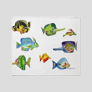 8 Cartoon Fish Wider Throw Blanket