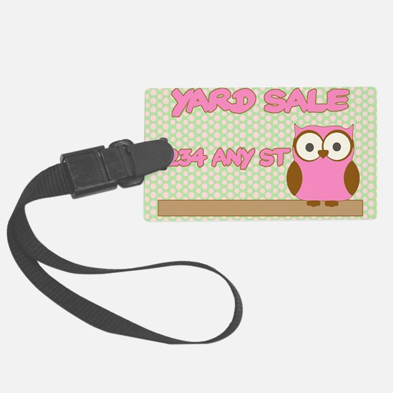 Owl with polka dot yard sale sig Luggage Tag