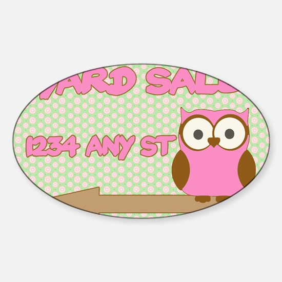 Owl with polka dot yard sale sign Sticker (Oval)