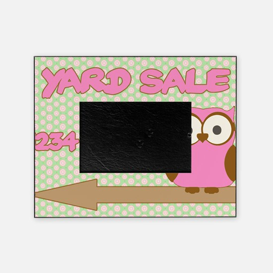 Owl with polka dot yard sale sign Picture Frame