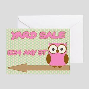Owl with polka dot yard sale sign Greeting Card