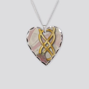 Double Infinity Gold With Pin Necklace Heart Charm