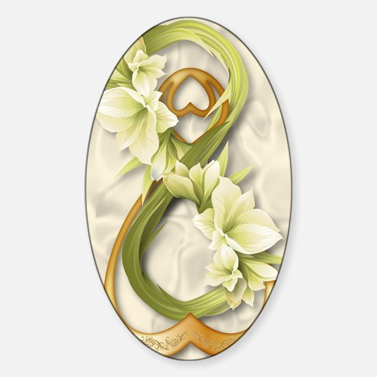 Double Infinity Gold With Cowliliy  Sticker (Oval)