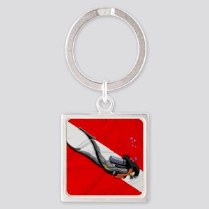 Dive Flag Square Keychain