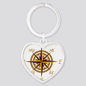 Vintage Compass Rose Heart Keychain