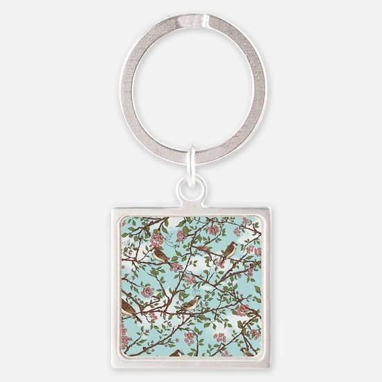 Sparrow tree Square Keychain