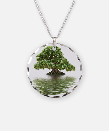 Ficus bonsai with water refl Necklace