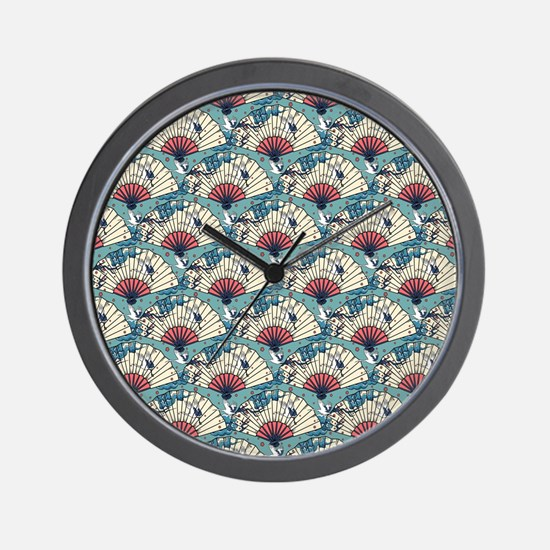 Oriental Fans and Cranes Wall Clock