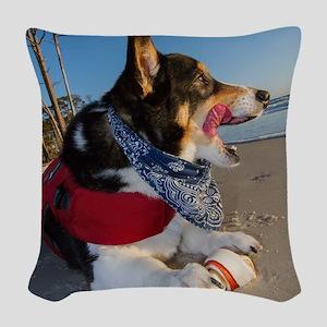 Corgi Licking his Chops Woven Throw Pillow