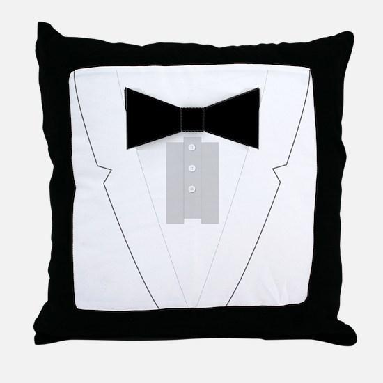 Funny Black Tie Tuxedo Throw Pillow